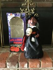 Vtg Animated Witch Figure W/Skull Halloween Lights Sound In Org Box 1988 Large