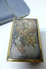JAPANESE EMBOSSED FLOWERS GOLD SILVER COPPER BRASS CLOCKWORK MUSICAL COMPACT