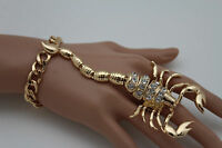 Fancy Women Gold Metal Scorpion Hand Chain Slave Bracelet Ring Fashion Jewelry