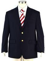 CHAPS Navy Blue Gold Btn. 100% Wool Sport Coat Blazer Jacket ~ Men's Size 44R