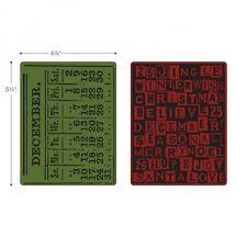 Sizzix Texture Embossing Folders 2PK - December Calendar & Holiday Words Set