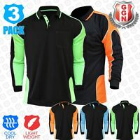 3x HI VIS POLO SHIRTS (HIVIS ARM PANEL PIPING) WORKWEAR COOL DRY,LONG SLEEVE