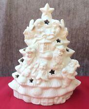 White Christmas Tree Tea Light Candle Holder Pierced Ceramic Stars Santa Bears