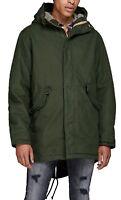 JACK & JONES Bento Faux Fur Parka Jacket Teddy Fur Lined Warm Hooded Winter Coat