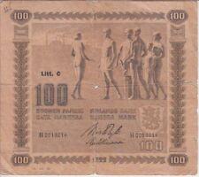 Finland Banknote P65-3016 100 Markkaa 1922 Litt. C, Center Hole, Tears, VG