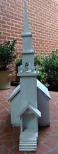 VTG WOODEN DOLLHOUSE CHURCH AMERICAN FOLKART CATHEDRAL POTENTIAL BIRDHOUSE BOX