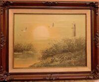 Vintage RARE A.J. WILLIS ORIGINAL OIL ON CANVAS LIGHTHOUSE BEACH PAINTING