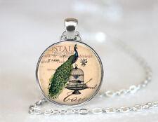 Vintage Peacock Bird Dome Tibetan silver Glass Chain Pendant Necklace