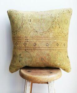 "Handmade Carpet PILLOW CUSHION COVER - Turkish Tribal Decorative Pillow 18"""