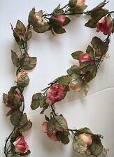Rose Garland, Six Feet Long. Polyester Silk Screen. Pink Multicolor