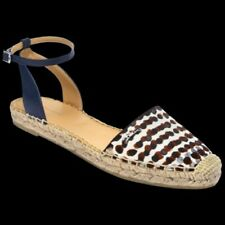 NEW Longchamp Espadrilles Ankle Buckle, Brown Navy Dots, Womens Size 40, US 9