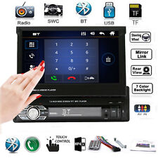 "Single 1 Din 7"" HD Bluetooth Car Stereo Radio MP5 Player Touch USB TF AUX FM AM"