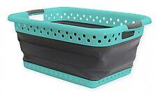 Collapsible Laundry Basket Hamper Bedroom Folding Closet Home Clothes in Aqua