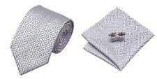 Lightgrey Novelty 100% Silk Classic Mens Necktie Tie Hanky Cufflink Set NT99