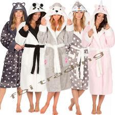 Ladies Womens Fleece Dressing Gown Soft Robe Animal Hooded Cosy Luxury Warm