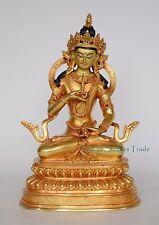 "10"" Vajrasattva Dorje Sempa Hand Carved Face Painted Gold Gilded Copper Statue"