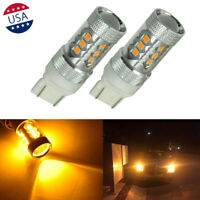 2x Amber Yellow 80W High Power 7440 7443 LED Bulbs Turn Signal Parking Lights