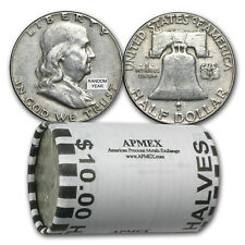 90% Silver Franklin Halves $10 20-Coin Roll Avg Circ - SKU #5296