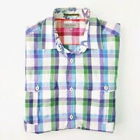 Ted Baker London - Mens Size 2 (Small) Colourful Check Button Up Collared Shirt