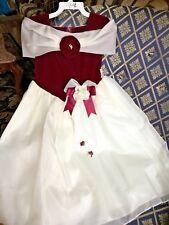 GIRLS 7/8 FORMAL GOWN + BARRETTE FORMAL WEDDING HOLIDAY Burgundy VELVET/Ivory