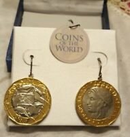 NEW COINS OF THE WORLD ◇ PIERCED EARRINGS ◇  GORGEOUS 2-TONED GOLD AND SILVER