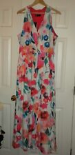 Women's 18 Leslie Fay LF Sleeveless Dress Long Floral Halter White Pink  NWT