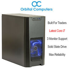 FAST Trading Computer - Intel Core i7 7700, 3-Monitor, SSD - Ideal For Traders