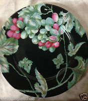 "PHILIPPE DESHOULIERES PATRICK FREY VENDANGES SALAD PLATE 8 5/8"" GRAPES ON BLACK"