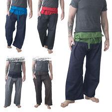 Mens Thai Fisherman Pants - Martial Arts Yoga Cotton Gym Hippy Two Tone Trousers