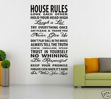 House Rules Wall Art Quotes Vinyl Wall Sticker, DIY Home Wall Decal HIGH QUALITY