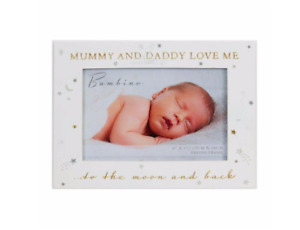 MUMMY & DADDY LOVE ME PHOTO FRAME GIFT BOXED PRESENT BABY BOY GIRL LANDSCAPE