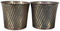 "2 Vintage Hollywood Regency Swirl Brass Bucket Pail Planters Trash Cans 11"""