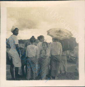 India 1930's Northwest frontier Crowd looking at RAF Biplane 2.5 x 2.5 inches