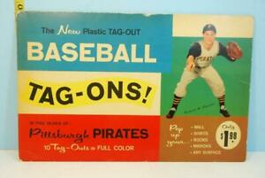 1960 Pittsburgh Pirates Plastic Tag-Ons Box & Stickers Tag Outs Nice & Complete