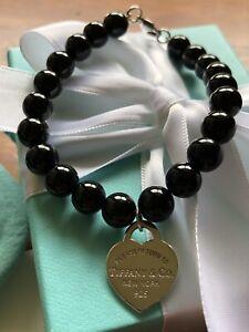 Tiffany & Co Silver Heart Tag on Black Onyx Bead Bracelet.