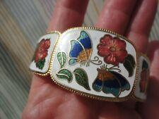 Vintage white enamel butterfly pink flowers 41 gram 6cm across hinged bangle