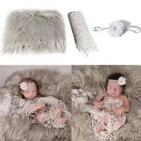 KQ_ 3Pcs/Set Newborn Baby Blanket Swaddle Wrap Sheer Headband Photo Props Exquis