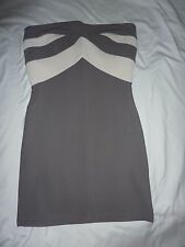 Topshop size 10 grey bodycon, stretchy dress, short mini, sleeveless, bandeau