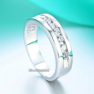 Fine 925 Sterling Silver Men Stylish Promise Wedding Band Ring Simulated Diamond