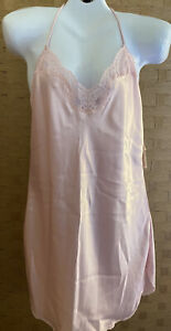 Vintage 1960s Barbizon Lingerie Pink Rose Lace Slip Dress Size Large
