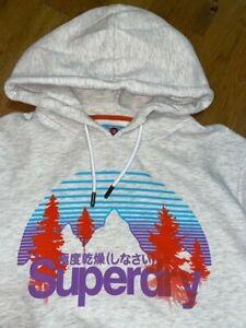 "SUPERDRY Sweatshirt mit Kapuze Hoodie ""Core Wilderness"" hellgrau Gr. XL NP79€"