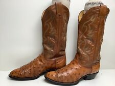 #W6 Mens Nocona Cowboy Ostrich Skin Brown Boots Size 9 D