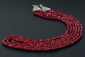 Royal 233 Cts Earth Mined 3 Strand Red Ruby Faceted Beads Necklace JK 47E305
