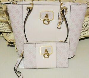 GUESS Noelle Elite Tote Bag & Wallet Set Powder