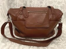 Lily Jade MADELINE Diaper Bag Brandy Brown Leather NICE Barely Used Great Shape!