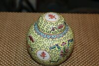 Chinese Lidded Spice Jar Vase Porcelain Yellow Colors Flowers Symbols Small Size