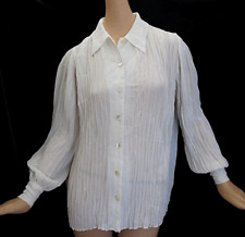 VTG IVORY WHITE ALL PLEATED LONG SLEEVE BUTTON FRONT OVERSIZED BLOUSE SHIRT  L