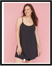 NWT Cacique Silky Soft Chemise Full Layering Slip Plus BLACK / CAFE MOCHA 351526