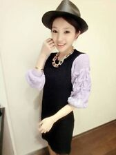 Korean Women Long Sleeves Braids Knit Sweater Dress Skirt-Black Purple