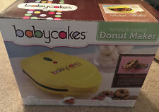 Babycakes Donut Maker, Mini Yellow in Original Box missing Fork